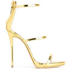 Giuseppe Zanotti Design 'Harmony' sandals ($580) ❤ liked on Polyvore featuring shoes, sandals, heels, metallic, stiletto shoes, stiletto high heel shoes, heels stilettos, metallic sandals and metallic heel sandals