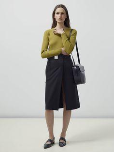 Look 13 - Knit: Irina Rib Knit  Skirt: Fell Buckle Skirt  Shoes: Finna Flat Pump Bag: Mábil Large Saddle Bag
