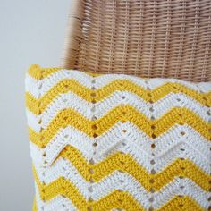 Chevron Crocheted Pillow - Organic Cotton Pillow In White And Yellow - Made To Order. $65.00, via Etsy.