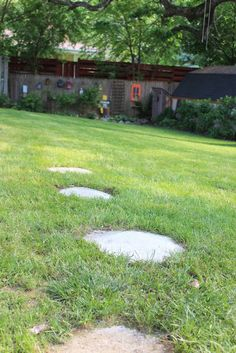 A quicker and easier way to stepping stones for $1.75 a stone.  http://decoratingchica.blogspot.com/2013/06/a-quicker-and-easier-way-to-stepping.html