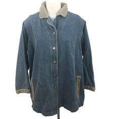 Venezia Jeans Denim Corduroy Trim Barn Coat Jacket Unlined Button Front SZ 14/16 #Venezia #BasicJacket #Casual
