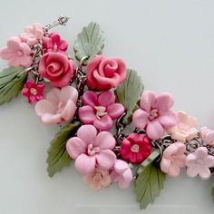 Flower Bridal Charm Bracelet  Polymer Clay by beadscraftz on Etsy, $125.00