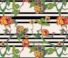 rose stripe - black fabric by cheyanne_sammons on Spoonflower - custom fabric    This is SO ME.