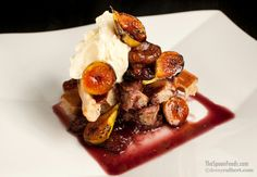 Waffles with carmelized figs and port