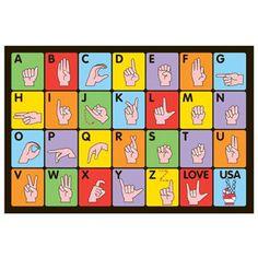 Sign Language Multi-colored Accent Rug (3'3 x 4'8) (39 inch x 58 inch), Multi, Size 3' x 5' (Nylon, Graphic)