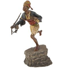 Vienna Bronze Sculpture of a Running Arabian Soldier by Franz Xavier Bergman | From a unique collection of antique and modern sculptures at https://www.1stdibs.com/furniture/decorative-objects/sculptures/