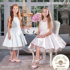 DonkerblauweWitte Jurk met Print Communie RTB Girls