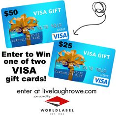 Enter to win one of two Visa Gift Cards with livelaughrowe.com #giveaway #worldlabel