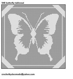 Butterfly Filet Crochet Doily Mat Afghan Pattern Item 948 Previous Pinner: I love every one of her patterns :) / Me: i agree. they are wonderful! Crochet Mat, Crochet Dollies, Manta Crochet, Crochet Cross, Crochet Home, Thread Crochet, Easy Crochet, Afghan Crochet Patterns, Crochet Squares