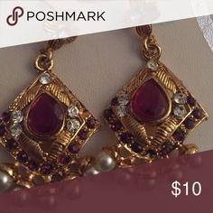 Earrings purple and gold earrings Jewelry Earrings