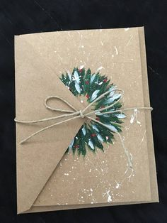 Your place to buy and sell all things handmade Christmas wreath hand-painted card Painted Christmas Cards, Watercolor Christmas Cards, Homemade Christmas Cards, Noel Christmas, Christmas Gift Wrapping, Homemade Cards, Christmas Wreaths, Christmas Decorations, Christmas Ideas
