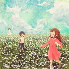 Tags: Anime, Pink Dress, Pink Outfit, Flower Field, Field, Running, Mother