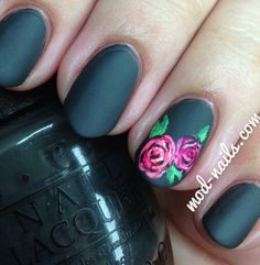 Matte black and pink roses