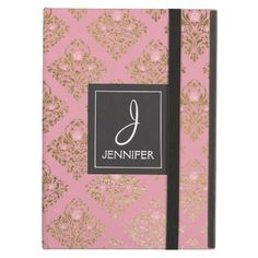 #pretty - #Pink and Gold Floral Pattern Elegant Monogram iPad Air Case