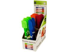 """Double-Sided Spatula Countertop Display, 24 - Mix pancake batters, cake mixes and more with this Double-Sided Spatula featuring full and half silicone spatula tips on a plastic handle. Measures approximately 10"""" long. Dishwasher safe. Comes in assorted colors. Countertop display comes with 24 pieces.-Colors: green,blue,red,orange. Material: plastic. Weight: 0.1667/unit"""