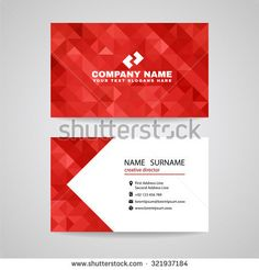 Business card - Red Triangle crystal glass abstract background design