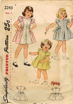 1950s Simplicity 2243 Vintage Sewing Pattern Toddler's Party Dress Size 2