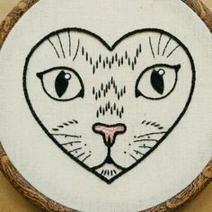 PDF pattern - Cat in a Heart Hand Embroidery Pattern (PDF modern embroidery pattern - tattoo . PDF pattern – Cat in a Heart Hand Embroidery Pattern (PDF modern embroidery pattern – tattoo pa Embroidery Hearts, Shirt Embroidery, Embroidery Patterns Free, Hand Embroidery Stitches, Modern Embroidery, Crewel Embroidery, Embroidery Hoop Art, Hand Embroidery Designs, Cross Stitch Embroidery