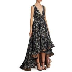 ZAC Zac Posen Ruffled Floral Silk Hi-Lo Gown (€815) ❤ liked on Polyvore featuring dresses, gowns, sleeveless floral dress, high low gown, high low dresses, floral ball gown and high low evening gowns