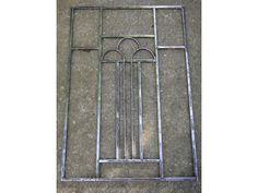 Ancienne grille de porte art déco, en fer forgé 87,5 X 59,5  3