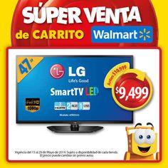 """Walmart: Smart LED TV LG 47"""", Full HD, 3 entradas HDMI $9,499 En la SÚPER VENTA de Carrito Walmart encontrarás las mejores pantallas para disfrutar la final del futbol mexicano este domingo. Aprovecha este SÚPER PRODUCTO: Promoción: > Smart LED TV LG (47"""", Full HD, 3 entradas HDMI, 2 entradas... -> http://www.cuponofertas.com.mx/oferta/walmart-smart-led-tv-lg-47-full-hd-3-entradas-hdmi-9499/"""