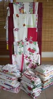 Vintage Tablecloths - since I collect tablecloth, I love photos of others collections!
