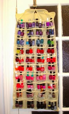 """150 Dollar Store Organizing Ideas and Projects for the Entire Home"" on DIY & Crafts; pictured: ""Cheap Storage Solution for Nail Polish"" sourced from KikiChaos.com [site doesn't appear to be active]"
