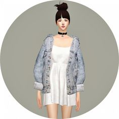 SIMS4 Marigold: Vintage Denim Jacket Dress