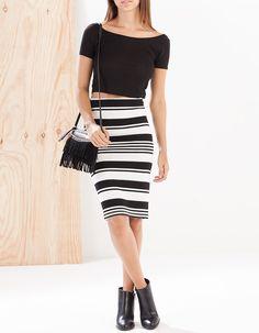 Striped midi tube skirt