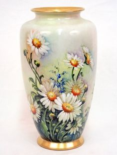 Hand painted porcelain vase, daisies and corn flowers o
