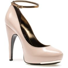 Lanvin Ankle Strap Pump ($747) ❤ liked on Polyvore featuring shoes, pumps, heels, sapatos, high heels, nude, high heel platform shoes, leather pumps, high heel platform pumps and cone heel pumps