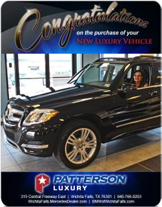 Congratulations to Debbie Hammer on her new 2014 Mercedes-Benz - From Tyler Caskey at Patterson Luxury Luxury Vehicle, Luxury Cars, Mercedes Benz Glk350, New Bmw, Congratulations, Vehicles, Rolling Stock, Fancy Cars, Vehicle