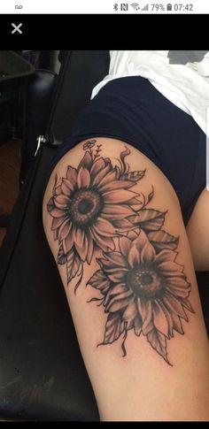My own creation of sunflowers half sleeve tattoos roses, rose thigh tattoos, thigh sleeve Thigh Sleeve Tattoo, Half Sleeve Rose Tattoo, Thigh Piece Tattoos, Rose Tattoo Thigh, Rose Tattoos, Arm Tattoo, Body Art Tattoos, Girl Tattoos, Sleeve Tattoos