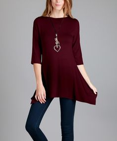 Look what I found on #zulily! Burgundy Sidetail Tunic - Plus Too #zulilyfinds