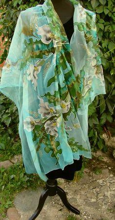 Scialle seta naturale floreale calla sciarpa di Studijakalla