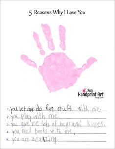 5 Reasons Why I Love You Handprint Craft - Free Printable