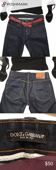 Dolce and Gabbana size 31 dark wash bootcut denim Dolce and Gabbana size 31 dark wash bootcut denim Made in Italy Straight leg bootcut Fabulous jeans  Leather pad on the butt is coming off in one corner Dolce & Gabbana Jeans Boot Cut