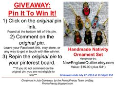 GIVEAWAY - Pin It To Win It: To Win This Item from NewEnglandQuilter.etsy.com - follow the instructions: Click on ORIGINAL pin, comment leaving a way to contact you, REPIN the ORIGINAL Pin! Contest ends 7/27/12 @ 11:59pm EST. Winner announced 7/28/12.