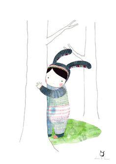 Pépinière Art Print  Doux rêveur   enfants  par WoodlandDrawings