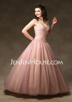 Quinceanera Dresses - $156.99 - Strapless Ruffle  Beading A-Line/Princess Floor-Length Quinceanera Dresses With V-neck (021002897) http://jenjenhouse.com/Strapless-Ruffle--Beading-A-line-Princess-Floor-length-Quinceanera-Dresses-With-V-neck-021002897-g2897