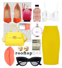 """Rooftop"" by modernandsmash ❤ liked on Polyvore featuring Chanel, J.Crew, H&M, Christian Louboutin, Edition, Salvatore Ferragamo, Bobbi Brown Cosmetics, Butter London, STELLA McCARTNEY and Jack Spade"