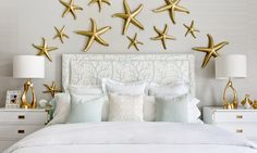 Gray and Gold Bedroom with Mint Green Bedding - Contemporary - Bedroom Grey And Gold Bedroom, Bedroom Green, Bedroom Wall Designs, Bedroom Decor, Bedroom Lighting, Mint Green Bedding, Grey Grasscloth Wallpaper, Starfish Wall Decor, How To Dress A Bed
