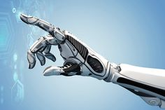 A robotic mechanical arm looks as like a human hand. Cybernetic organism with Artificial Intelligence working with virtual Infographic HUD. Bill Gates, Mechanical Arm, Fourth Industrial Revolution, Certificates Online, Technology World, Ohio, Futuristic Design, Detroit Become Human, Artificial Intelligence