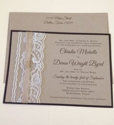 Vintage Lace and Jute Invite set Shabby Chic Rustic Chocolate and craft cardstock