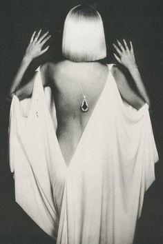 DAVID BAILEY, draped dress, white on black background