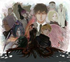 Tokyo Ghoul: Kaneki, Hide, Touka, Yomo, Amon, Akira, Tsukiyama, Arima, Koma, Shinohara, Irimi, Juuzou, and Yoshimura