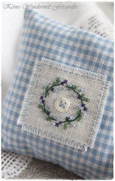 lavender sachet - home ideas wedding wedding flowes Cross Stitching, Cross Stitch Embroidery, Hand Embroidery, Cross Stitch Pillow, Simple Embroidery, Lavender Bags, Lavender Sachets, Fabric Crafts, Sewing Crafts