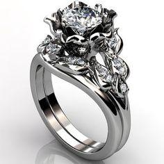 Platinum diamond unusual unique flower engagement ring, bridal ring, wedding ring, flower engagement set ER-1099