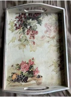 Hand painted and decoupage serving tray,decorative wooden tray, shabby chic, dining room decor, gift What's Decoration? Decoration is the art … Shabby Chic Dining Room, Shabby Chic Kitchen, Shabby Chic Furniture, Shabby Chic Decor, Painted Trays, Hand Painted, Shower Tile Designs, Pots, Modern
