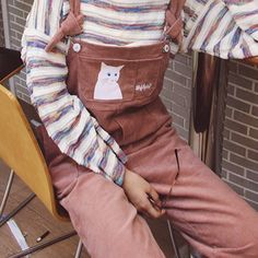eea4279223c8 Dusky pink corduroy overalls with cat detail. Thrifted in Germany and only  worn twice.
